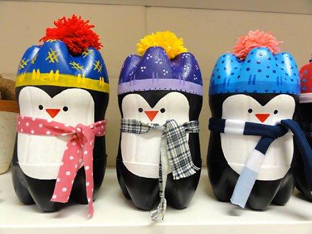 Pingwiny z plastikowych butelek