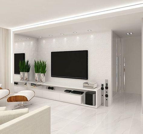 20 Ciekawych Inspiracji na Aranżację Ściany z TV w Salonie